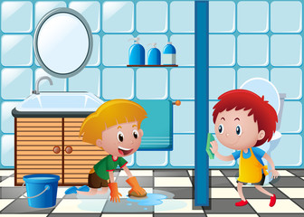 Two boys cleaning toilet