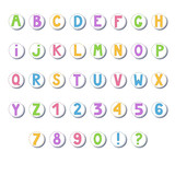 Cartoon colored alphabet. Letters and numbers in circles.