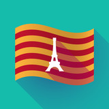 Long shadow Catalonia flag with   the Eiffel tower