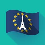 Long shadow EU flag with   the Eiffel tower