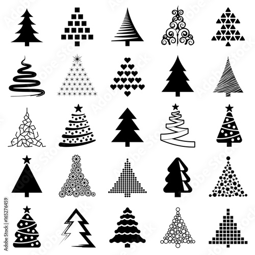 Christmas tree icon collection - vector illustration  - 165276459