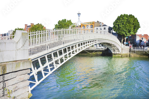 """The most famous bridge in Dublin called """"Half penny bridge"""" on white background Poster"""