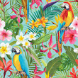 Tropical Flowers and Parrots Seamless Vector Floral Summer Pattern. For Wallpapers, Backgrounds, Textures, Textile - 165286851