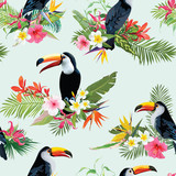 Tropical Flowers and Toucan Birds Seamless Background. Retro Summer Pattern in Vector - 165286888