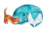Aquarelle szkic kota matka kot spania podczas jej niewiele kitten gry