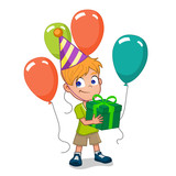happy birthday boy holding gift box with balloons