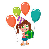happy birthday girl holding gift box with balloons