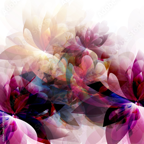 Abstract spring fashion illustration with leafs and spots. Colorful background - 165294474