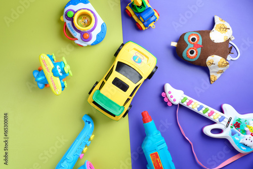 Toys For Boys To Color : Boys toys on color background. top view. buy photos ap images