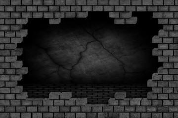 Black brick wall, ruined stone surface, background