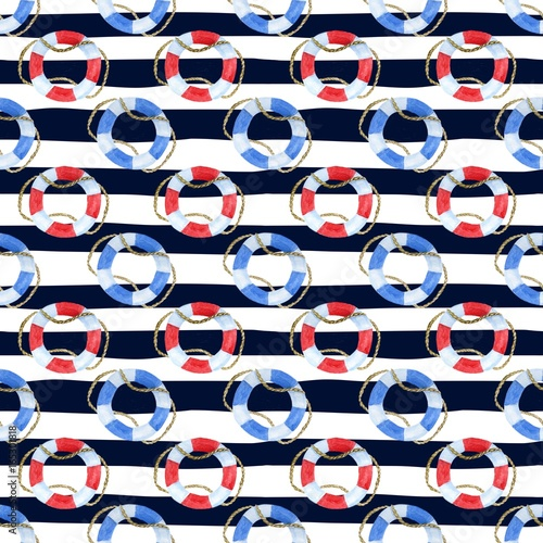Cotton fabric Seamless marine background with stripes and watercolor blue and red lifebuoy
