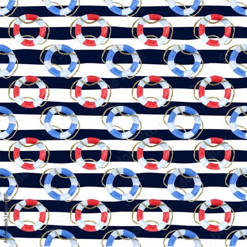 Materiał do szycia Bezszwowe tło morskich z paskami i akwarela niebieskie i czerwone koło ratunkowe