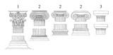 1. Corinthian 2. Ionic 3. Doric columns - vintage illustration  - 165304035