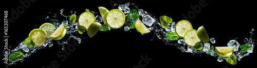 Lime and mint with water splash - 165307468