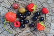 Still life of fresh ripe raspberries, strawberries, gooseberries, black currants on a wooden vintage backgroundf, top view