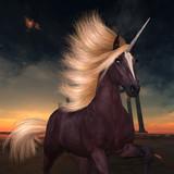 Wild Liver Chestnut Unicorn - A flashy unicorn with a liver chestnut coat prances near ruins of a lost Roman or Greek city.