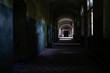 Dark corridor of the abandoned tuberculosis hospital in Germany
