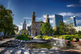 Grzybowski Square in Warsaw in a new view with an interesting fountain, the church of the Holy Spirit and Palace of Culture and Science - 165331494