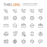 Collection of contact us thin line icons - 165335636