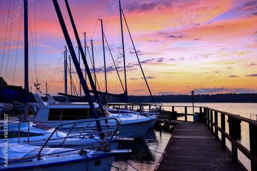 Mazury-świt na jeziorach Poster