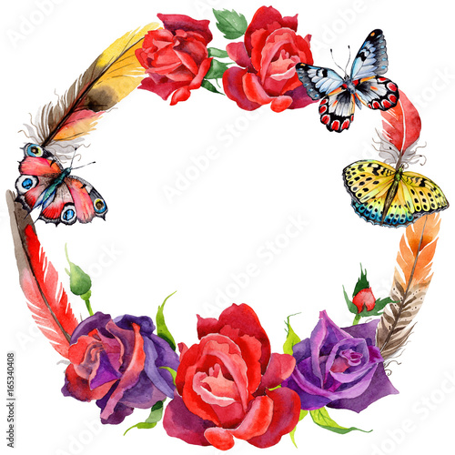 Wildflower rose flower wreath in a watercolor style. Full name of the plant: rose. Aquarelle wild flower for background, texture, wrapper pattern, frame or border. - 165340408