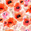 Wildflower poppy flower pattern in a watercolor style. Full name of the plant: poppy. Aquarelle wild flower for background, texture, wrapper pattern, frame or border.
