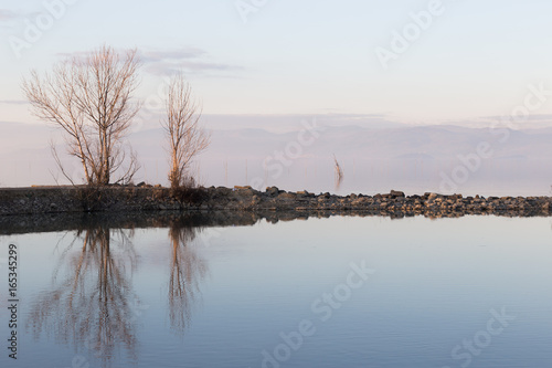 A symmetric photo of a lake, with trees and clouds reflections on water and soft and warm colors - 165345299
