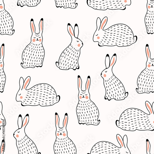 Seamless pattern with rabbits - 165368836