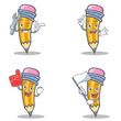 Set of pencil character with mechanic foam finger flag - 165371229