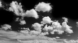 Black sky and white clouds, Black and white image