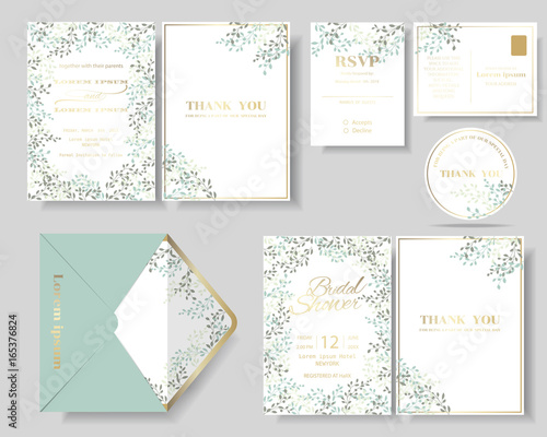 Set of botanical leaves wreath wedding invitation card.Green and mint color tone.Vector/Illustration - 165376824