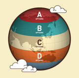 World map infographic vector design. Infographic design template, earth banner. - 165383205