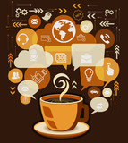 Coffee Cup and Business Icons with Bubble Speech Vector. - 165383428