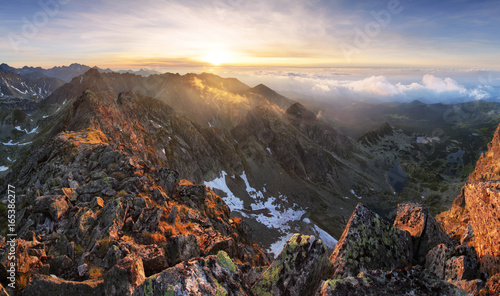 Beutiful Tatras nature summer landcape with mountain and lake