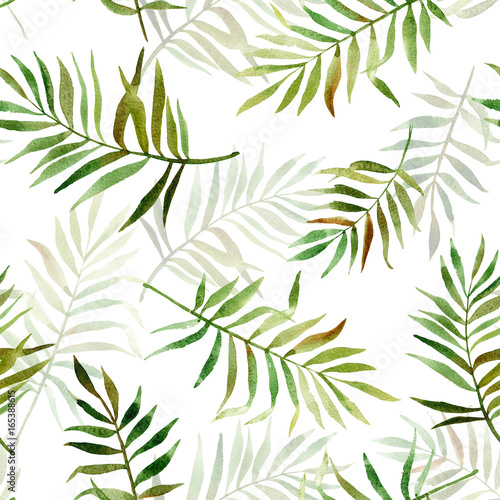 Seamless pattern with watercolor tropical leaves. Illustration can be used for gift wrapping, background of web pages, as a print for any printing products. - 165388615