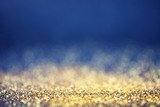 Fototapety Glamourous luxury golden and blue bokeh background