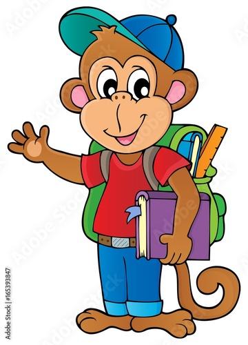 Tuinposter Voor kinderen School monkey theme image 1