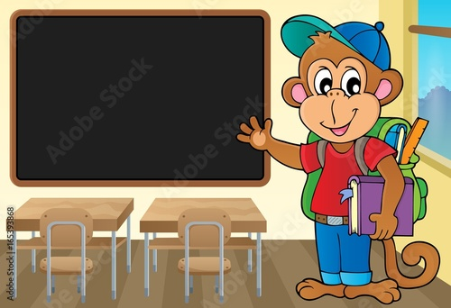 Tuinposter Voor kinderen School monkey theme image 2