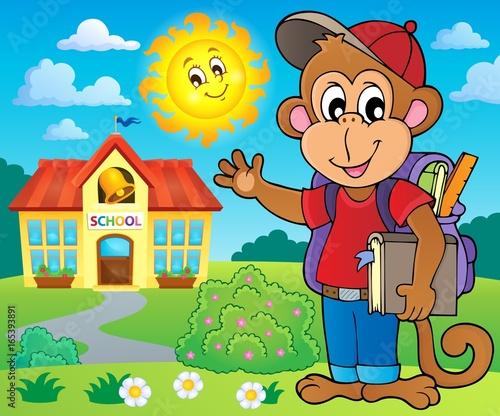 Tuinposter Voor kinderen School monkey theme image 3