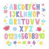 Cute cartoon kolorowy alfabet dla dzieci