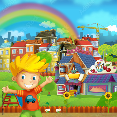 Cartoon scene of playground and kid in front of a colorful building candy shop - illustration for children - 165400044