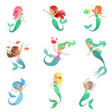 Beautiful fairy tale mermaid princess with colorful hair and taill set of vector Illustrations