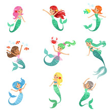 Beautiful Fairy Tale Mermaid Princess  Colorful Hair And Taill   Illustrations Sticker
