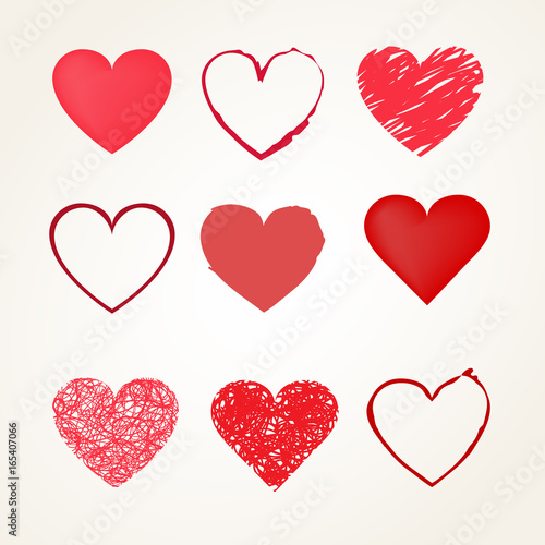 Hand Drawn Different Style Red Hearts Set Vector Symbols Buy