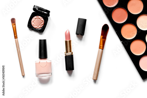 decorative cosmetics nude on white background top view Poster