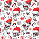Watercolor seamless pattern with sketchy skulls in Santa hat, snowfalkes, leaves. Cretive New Year. Celebration illustration. Can be use in winter holidays design, posters, invitations. - 165411067