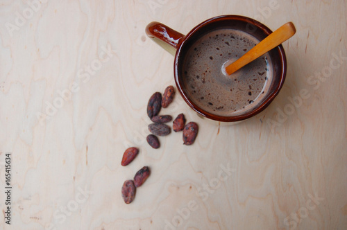 Spoed canvasdoek 2cm dik Chocolade Cup of cacao on the table