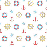 Seamless vector pattern with sea symbols