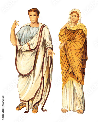 Starożytny rzymski mężczyzna i kobieta (starożytny rzym) - vintage ilustracji