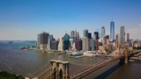 Aerial drone view of New York Financial District of Manhattan, Brooklyn Bridge and the Hudson River, panoramic view - 165426099